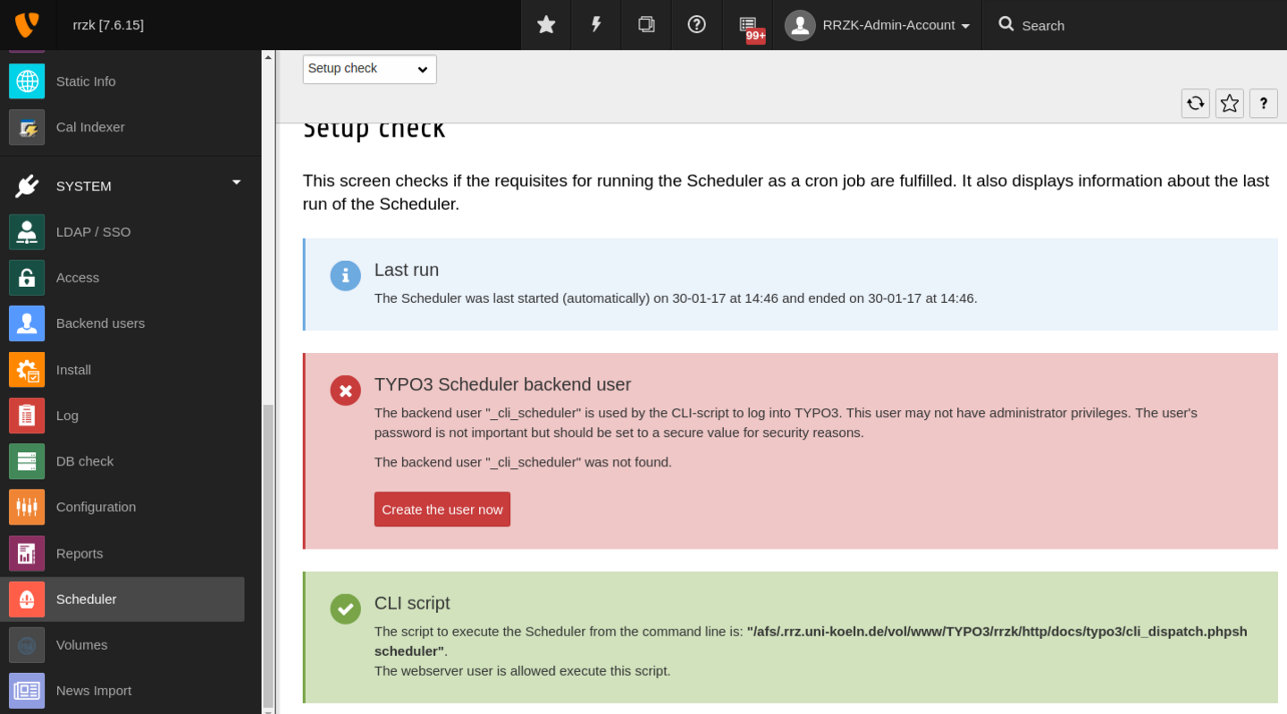 "Klicken Sie auf ""Create the user now"" um den TYPO3 Backend User _cli_scheduler anzulegen."